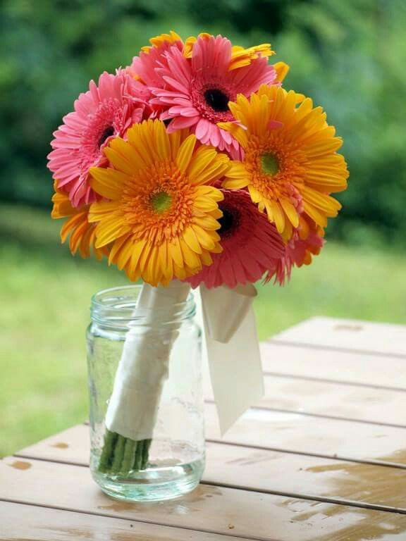 Bridal bouquet - pink and orange gerbera