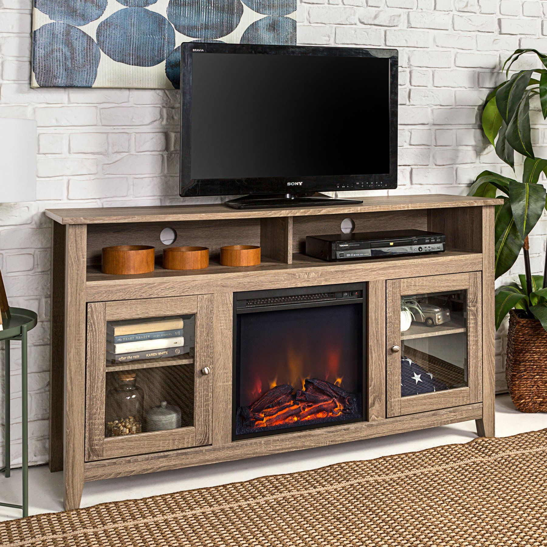 Walker Edison Highboy Wood Fireplace Tv Stand Fireplace Tv Stand