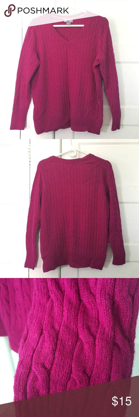 Pink Cable Knit Sweater Condition: EUC Brand: JCP Style: V-neck ...