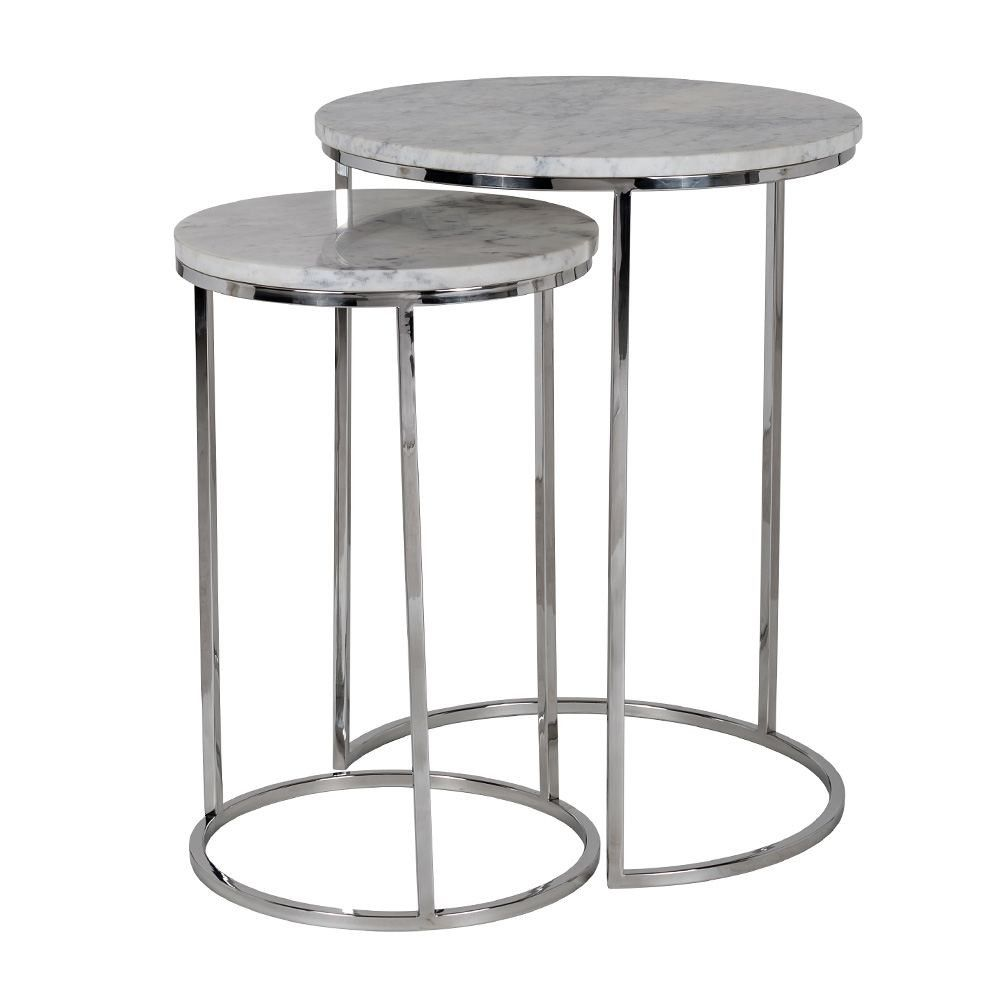 Houseology Collection Lacey Round Side Tables Set Of 2 Stainless