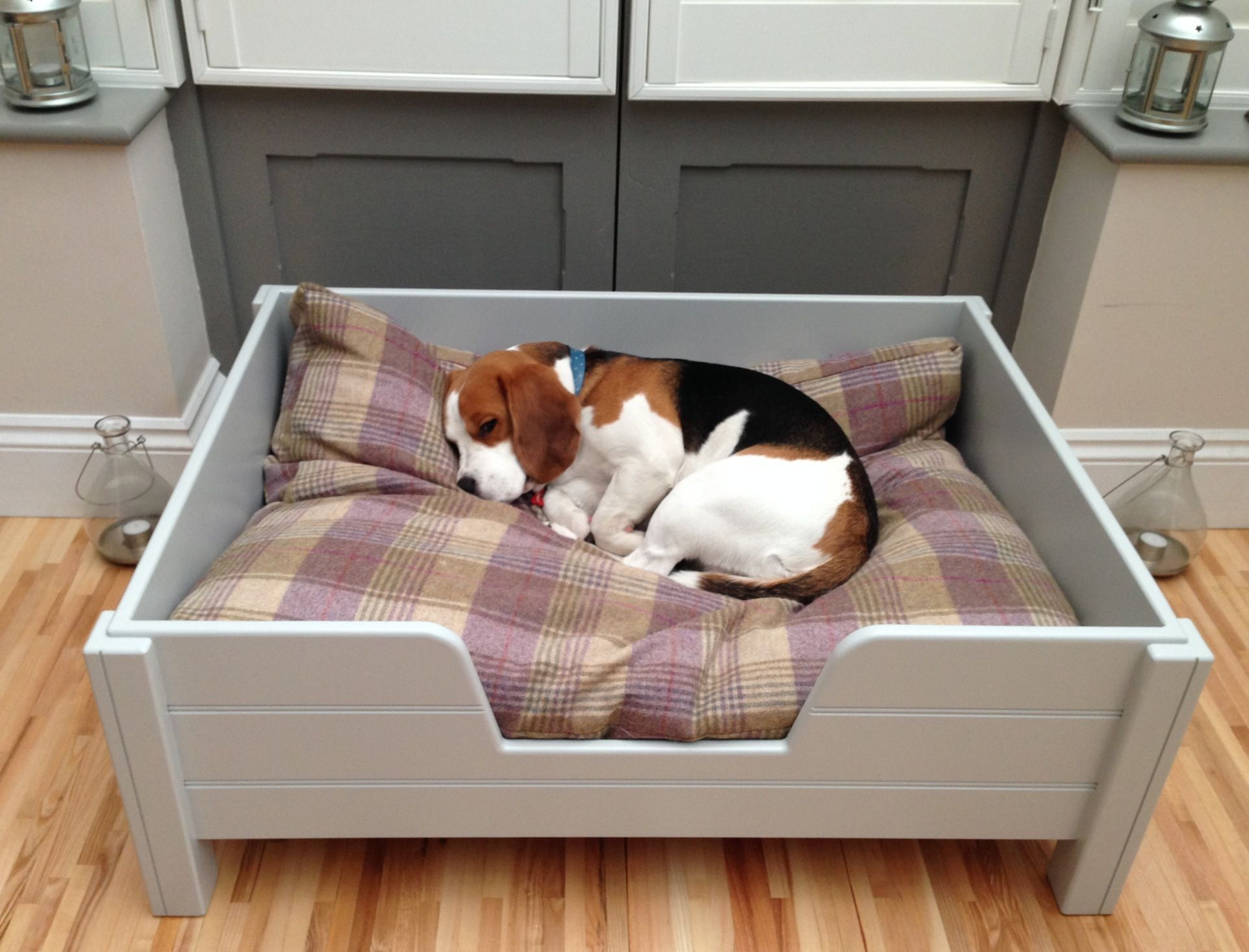 Luxury raised wooden dog bed, with grey tongue & groove