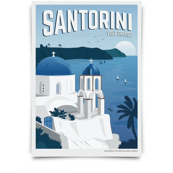 Vintage Travel Poster Santorini Travel Decoration Wall Art 23 Liked On Polyvore Featuring Home With Images Vintage Travel Posters Travel Posters Vintage Travel