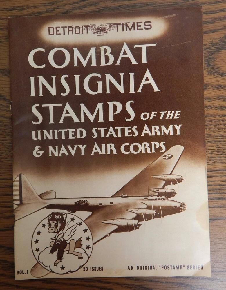 VTG WWII 1942 Detroit Times Combat Insignia Stamps of the