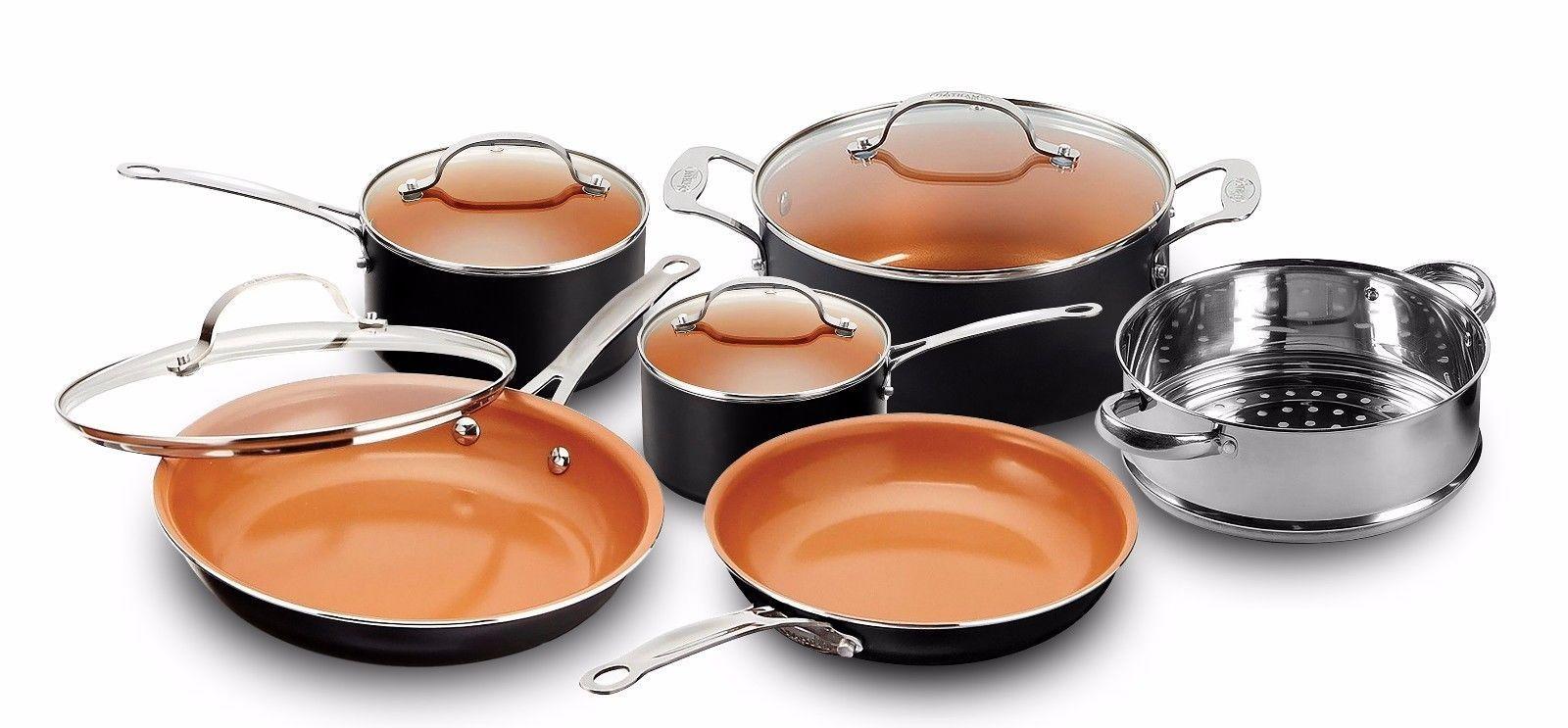Gotham Steel 10 Piece Nonstick Copper Frying Pan Cookware Set