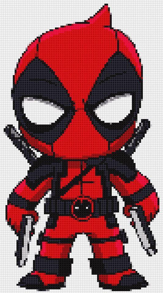 Deadpool 2 Ultimate Chibi cross stitch and plastic canvas ...