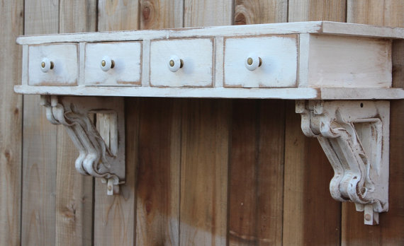 Floating Wall Shelf Entryway Desk Drawers Cottage Chic Shabby French Country