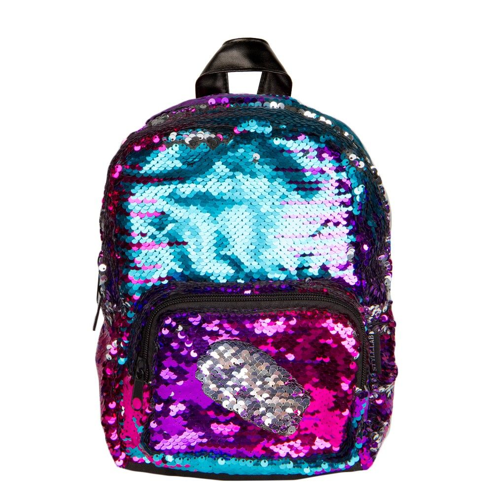 Gradient Rainbow Silver Magic Sequin Mini Backpack  d65ff0d0dd78