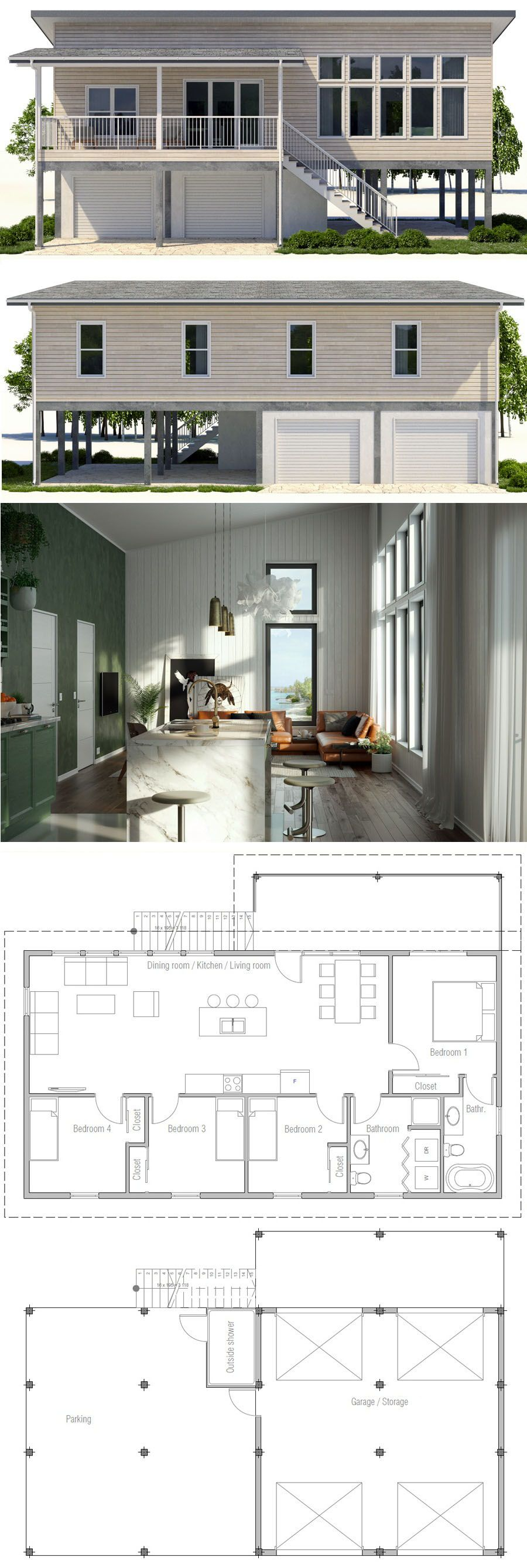 Beach House Plan With Three Bedrooms Home Plan Coastal House Plans Beach House Plan Beach House Design