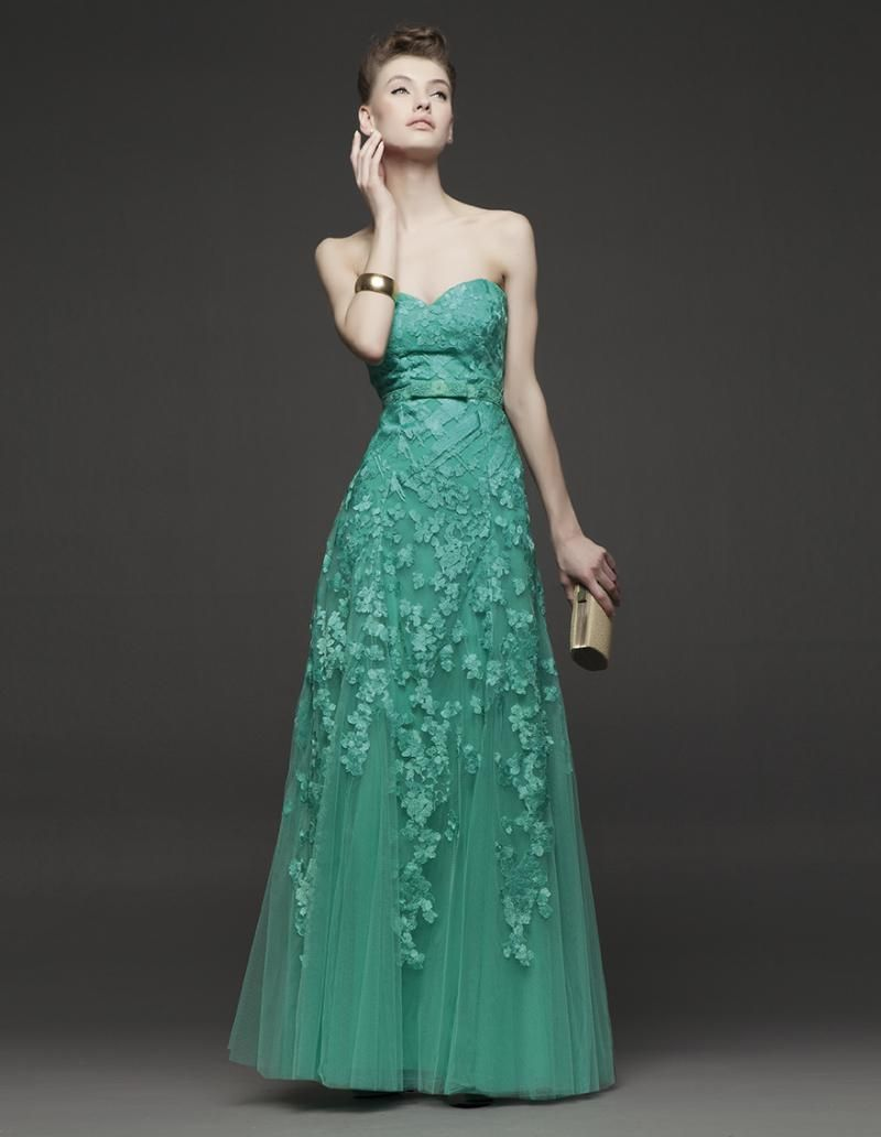 Teal green lace applique evening dresses handmade flower sheer tulle