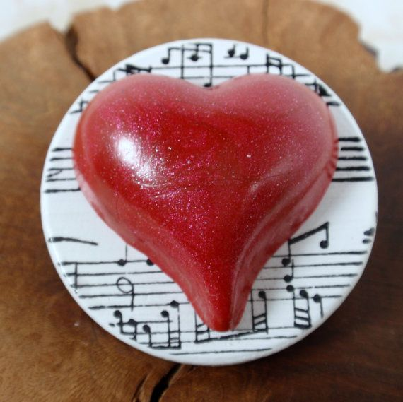 Red Heart with Love of Music Valentine's Polymer Clay & Wood Pin. $5.00, via Etsy.