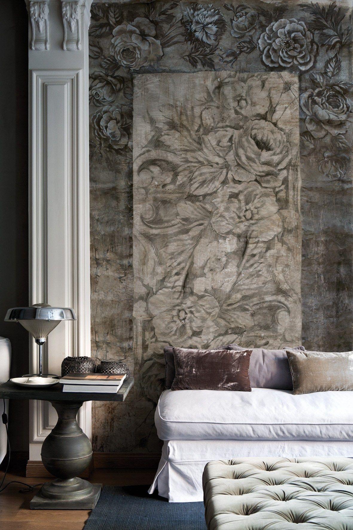 Carta da parati con motivi floreali arazzo collezione life - Decorazioni floreali per pareti ...