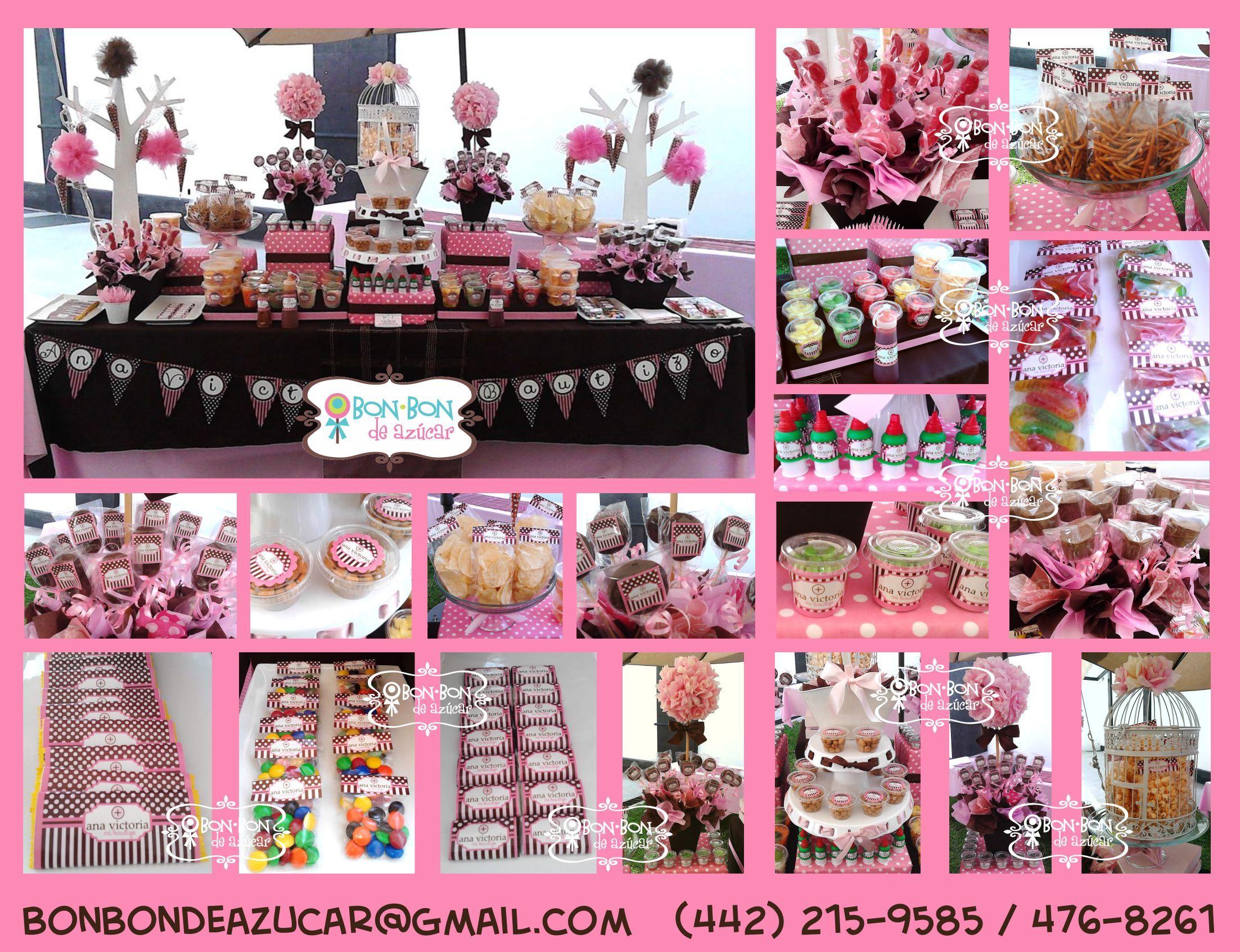 Mesa de dulces y snacks para bautizo en rosa y chocolate for Mesa de dulces para bautizo de nina
