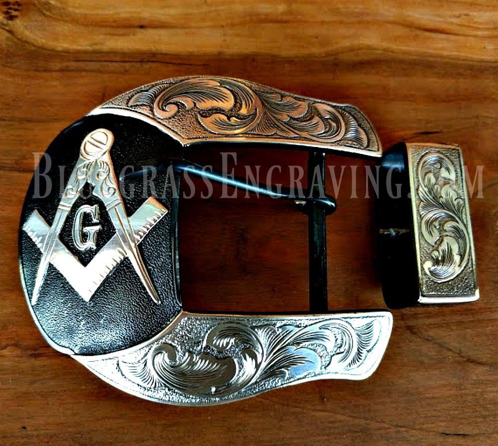 Masonic Ranger Belt Buckle Set Shown On The Maverick Shape 2 Buckle Sterling Silver Overlay Hand Fabricated Hand E Belt Buckles Custom Belt Buckles Buckle