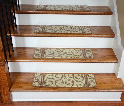 Best Dean Premium Carpet Stair Treads Vanilla Scrollwork Set 640 x 480