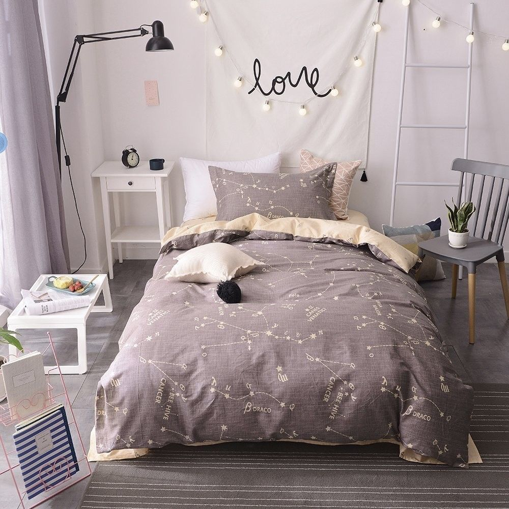 Kids Queen Bed Bulutu Bedding Constellation Print Queen Quilt Cover Sets Cotton