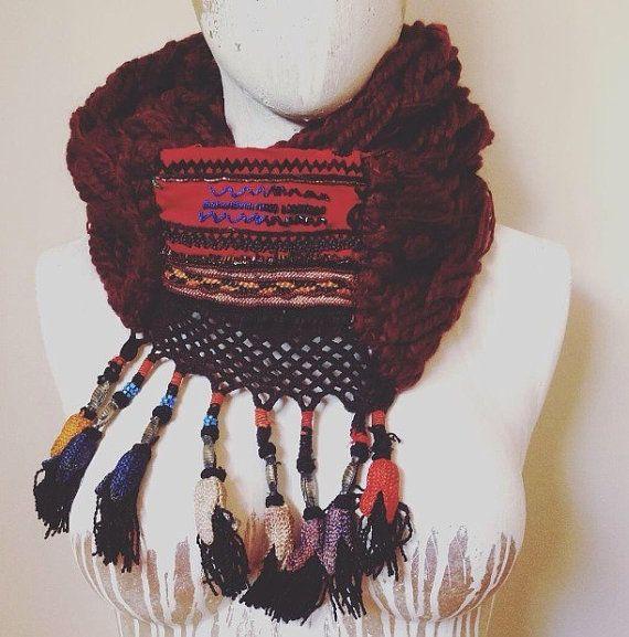Hand Made Brambuta Ethnic Knit Snood Wool Claret Red