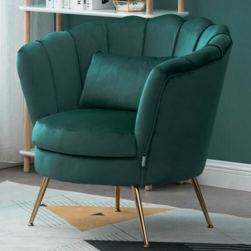 Details about Velvet Scallop Shell Back Tub Chair Armchair