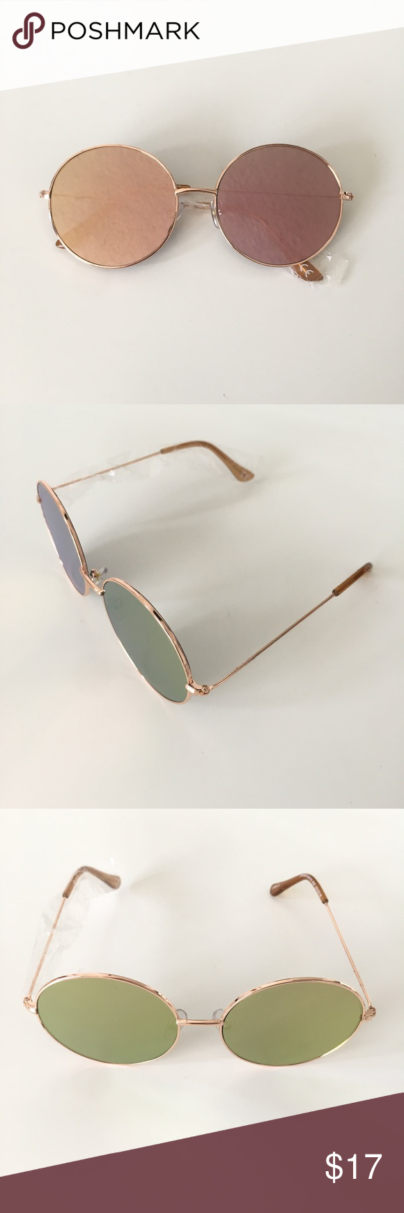 0e30ab84796e7 Pink Mirrored Sunglasses Super cute pink and gold mirrored flat lens round  sunglasses with rose gold