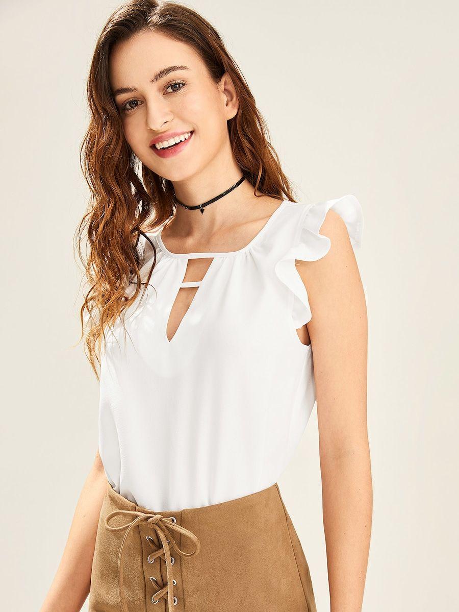 Top de hombro fruncido de cuello cortado V | Blusas | Pinterest ...