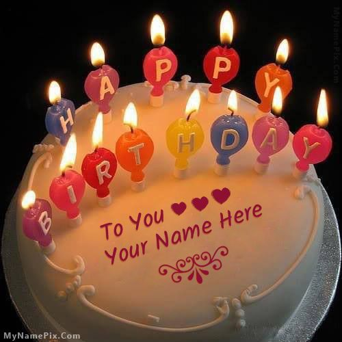 Online Write Your Name On Best Candles Happy Birthday Cake Picture In Seconds Make Awesome With New Wishes