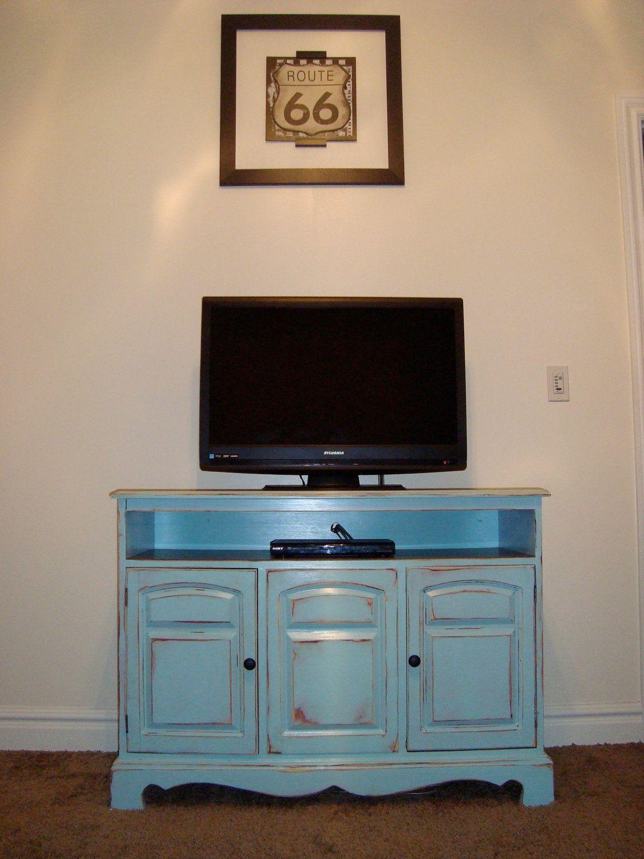 Shabby Chic Blue TV Stand 34900 Via Etsy
