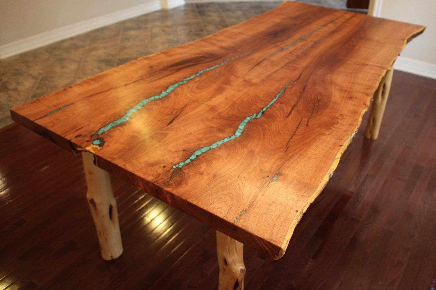 Custom Made Turquoise Inlay Mesquite Dining Table Dining Table
