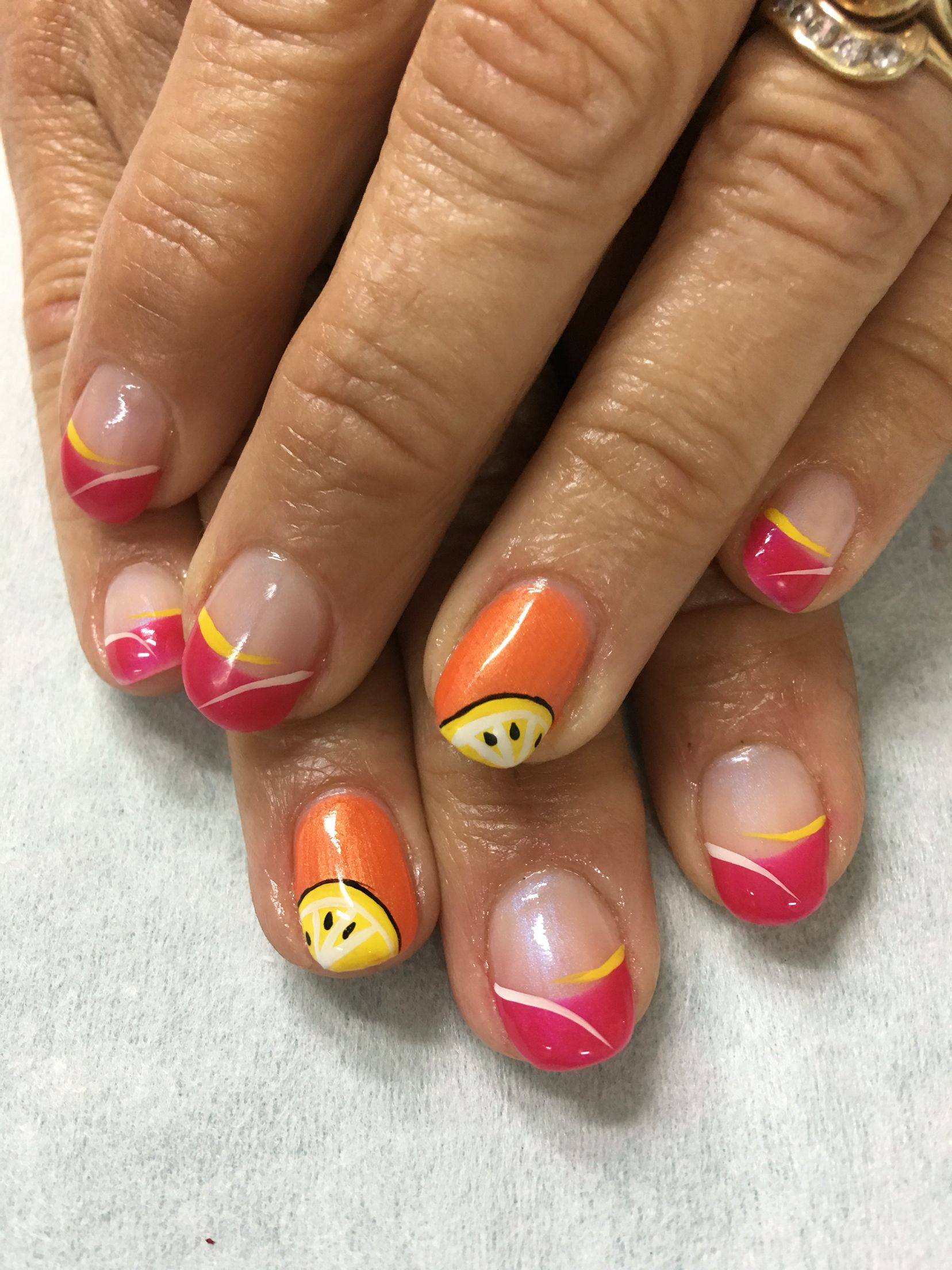 Summer Slice Pink, Orange Yellow French gel nails   Neat Nails ...