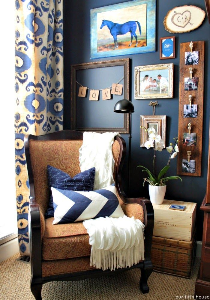 Blue & Brown reading nook via @ourfifthhouse | Home Decor ...