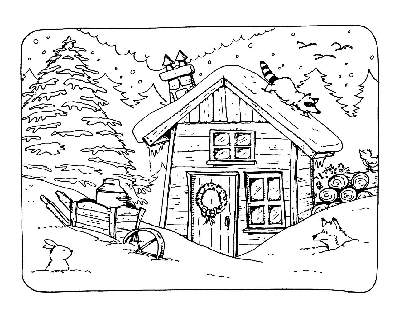 Vacation Winter Cottage Snow Cold Mountain Vacation Winter Cottage Snow Cold M Coloring Pages Free Coloring Pages Free Printable Coloring Pages