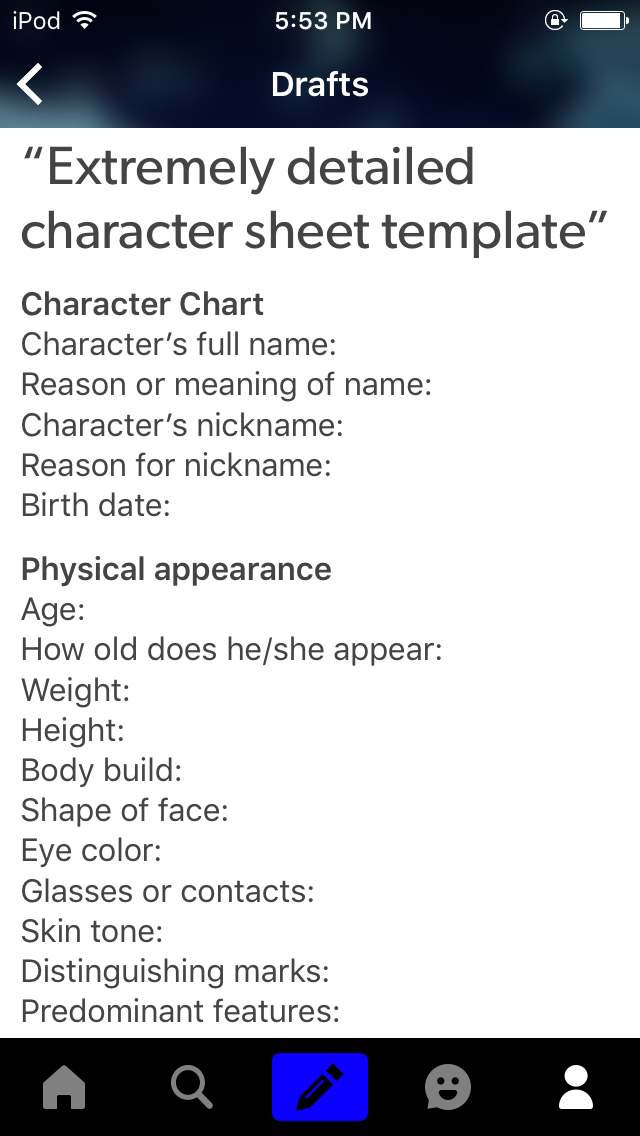 I always make a chart like this when I make new characters, but this ...