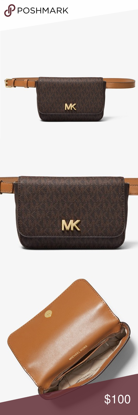 Michael Kors Mott Logo Belt Bag Nwt Perfect For Travel Or Daily Commutes The Mott Belt Bag Is Crafted From Logo Printed Canvas And Bags Michael Kors Signature Logo