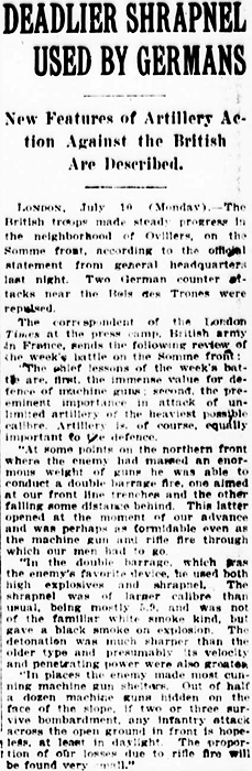 July 10th 1916: German artillery shells are being armed with larger, deadlier pieces of