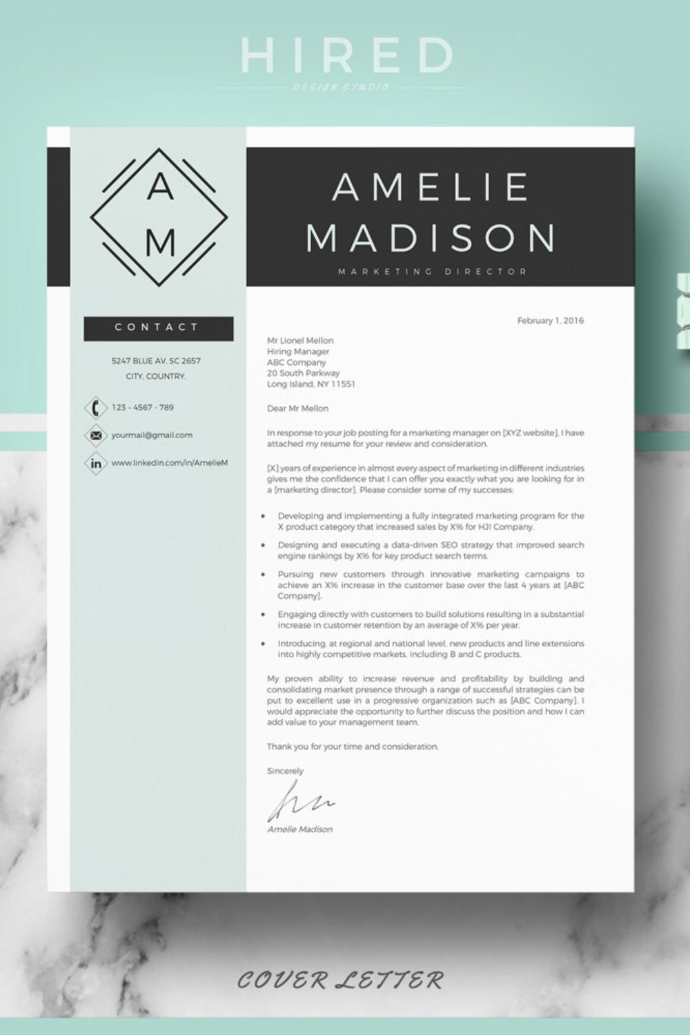 R09 Amelie Madison Creative And Professional Resume Template For Word Pages Instant Download Curriculum Resume Cover Letter References Resume Wri Reference Page For Resume Cover Letter For Resume Lettering