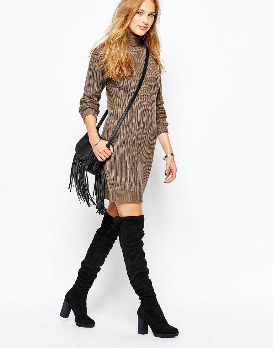 7c30dc324ddd9 Image 4 of Vila Long Sleeve Tunic Knit Dress