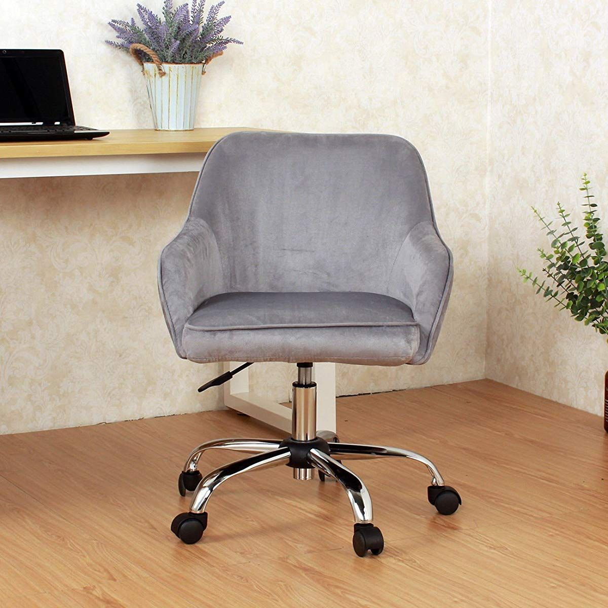 Velvet Mid Back Padded Seat Swivel Chair Desk Chair Office Desk Chair
