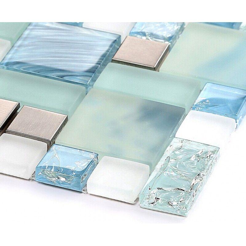 Blue Glass Mosaic Sheets Stainless Steel Backsplash Crackle Crystal Glass Tiles For Kitchen An Stainless Steel Tile Glass Backsplash Stainless Steel Backsplash