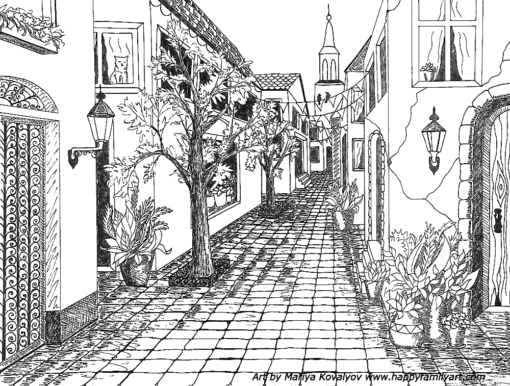 Happy Family Art Original And Fun Coloring Pages Perspective Drawing Architecture Perspective Drawing Perspective Art