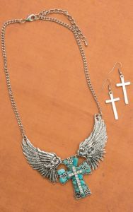 Silver Chain Necklace with Silver Angel Winged Turquoise Cross Pendant and Earrings Set | Cavender's