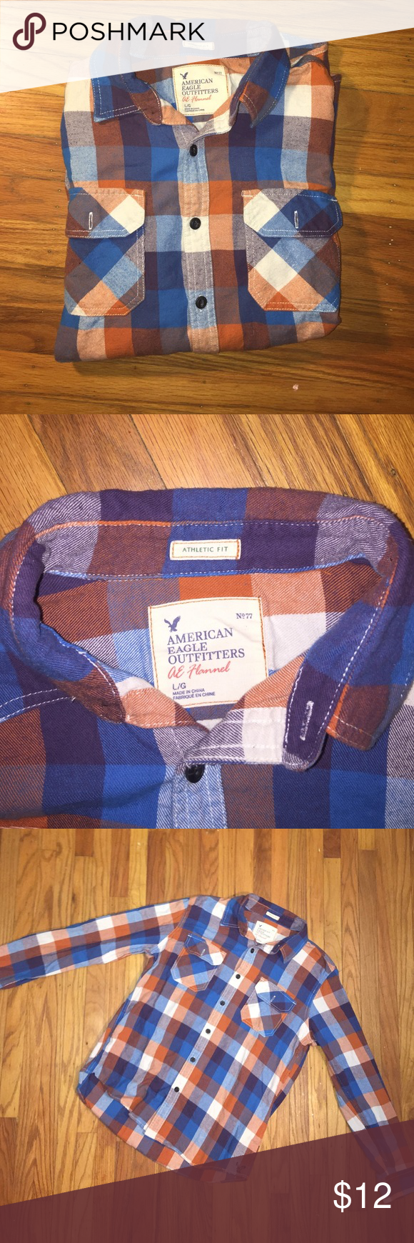 American Eagle Flannel lightly worn athletic fit flannel Shirts