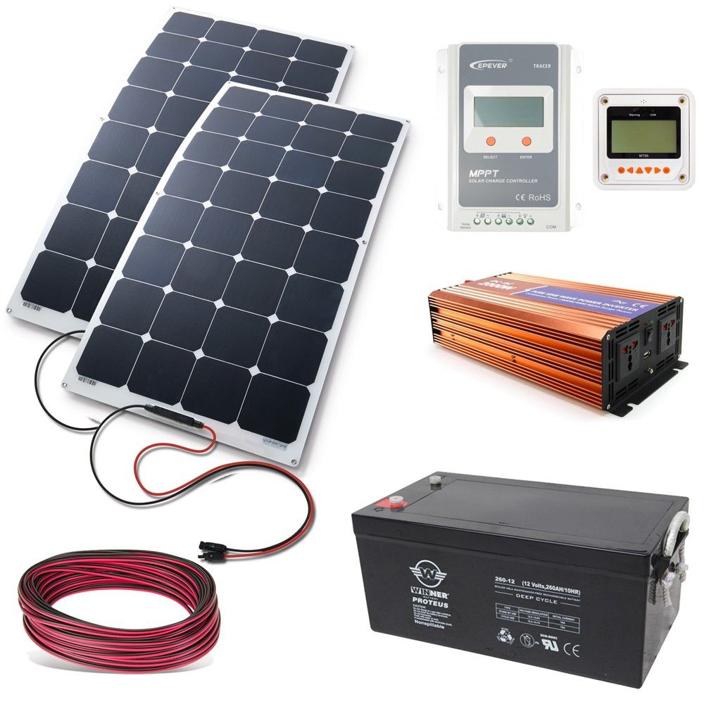 Komplettes Solarset Zum Betreiben Aller 230v Geraten Mit Solar In Diesem Paket Sind Alle Benotigten Teile Enthalten Solaranlage Solar Freie Energie Generator