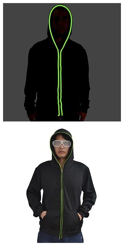 Mens Black Light Up Hoodie With Green El Wire Led Glow Flashing