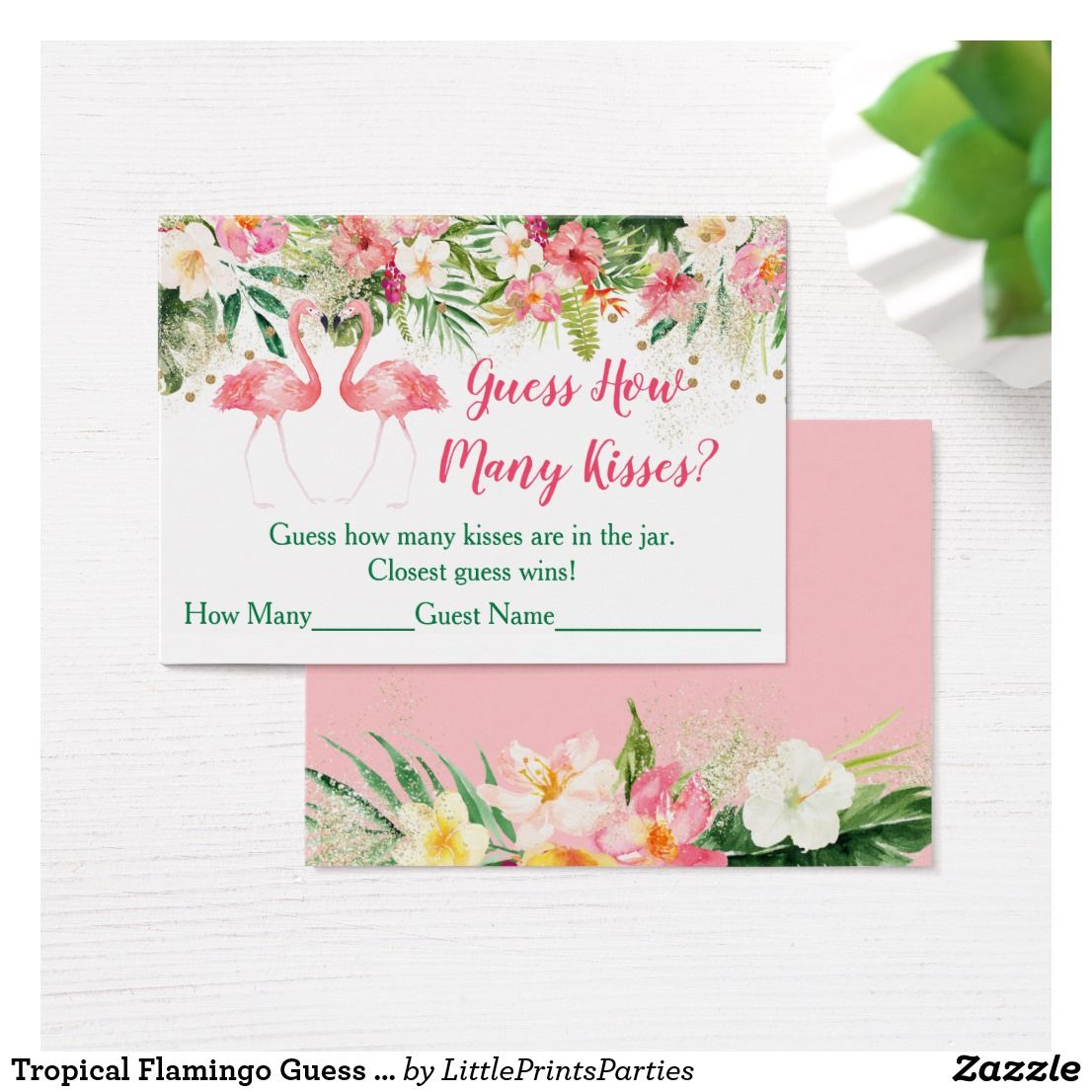 Tropical Flamingo Guess How Many Kisses Game
