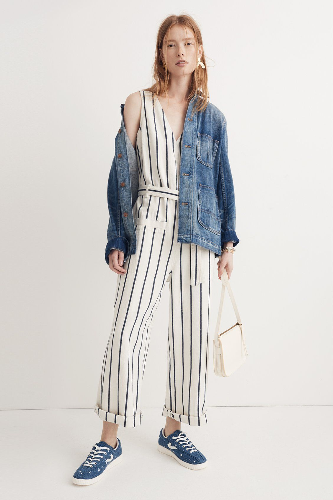 41544c5e632 madewell denim chore coat worn with striped pull-on jumpsuit + the simple  crossbody bag. call 866 544 1937 or email shopfirst madewell.com to  pre-order.
