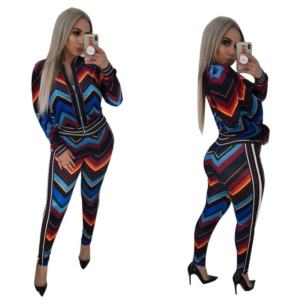 4161497de4b 2019 Stripe Full Sleeve Sexy Autumn Winter tracksuit Women Set outfit  fashion two pieces suits casual Overalls Jumpsuits J1614