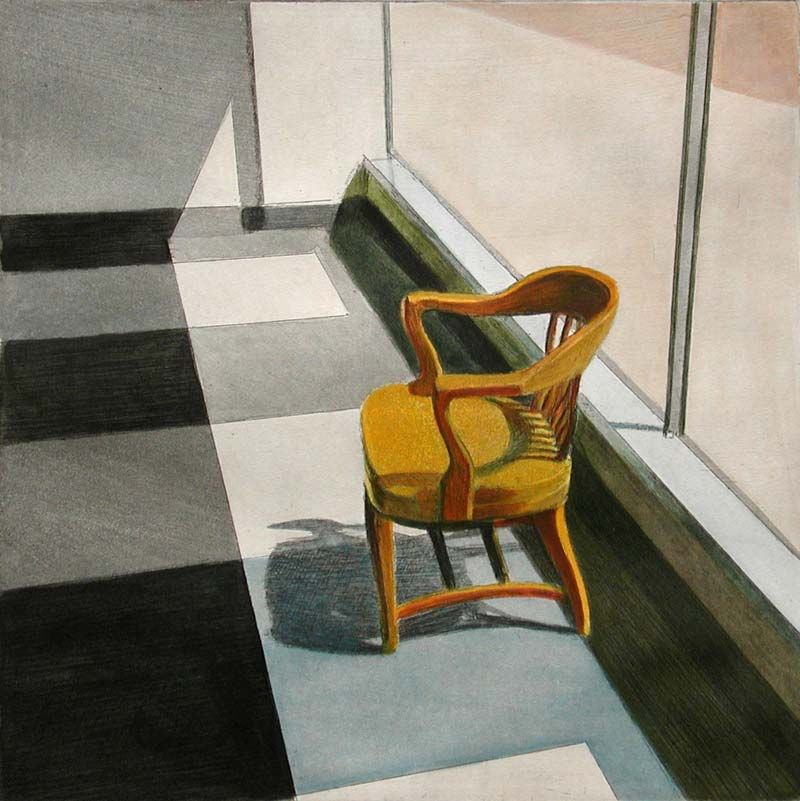 John Register (1939-1996) was an American painter who suddenly left his previous career in advertising and became a full time artist. His sunlit interiors miss any living human presence, but are populated with chairs and desks resting in stillness. Register's empty motel rooms and lobbies...