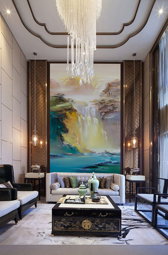 Large abstract landscape oil painting hand made extra - Oil painting ideas for living room ...