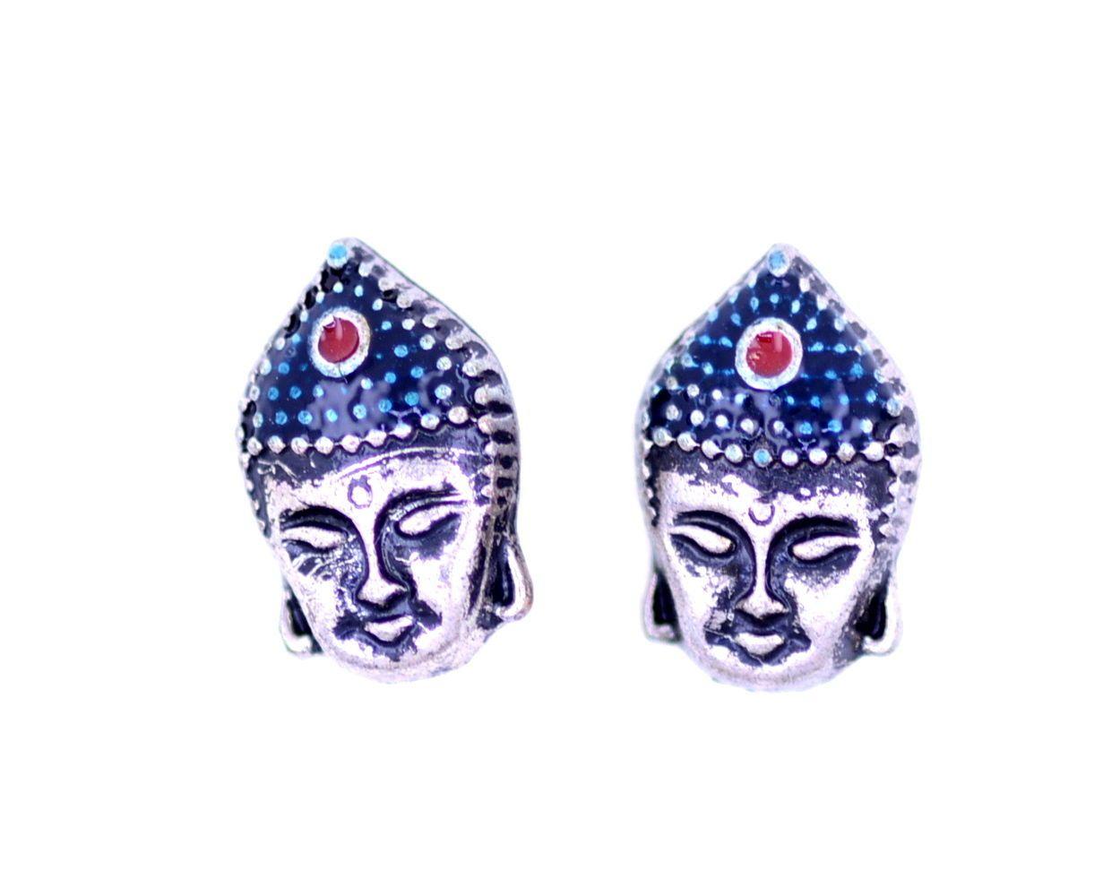 Vintage Retro style Silver Buddha head stud earrings in Orologi e gioielli, Bigiotteria, Orecchini   eBay