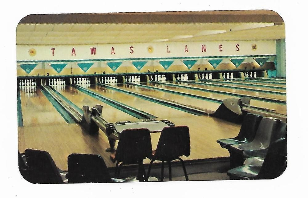 Taiwas Lanes Bowling Alley Taiwas City Michigan Vintage Postcard Vintage Postcard Tawas City Bowling Alley