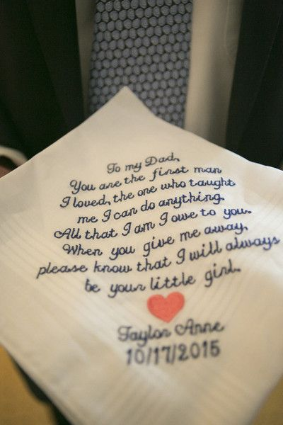 Father Of The Bride Gift Idea Embroidered Handkerchief From To Her Dad On Wedding Day Devon John Photography