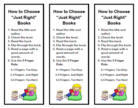 Just Right Book Bookmark Primary